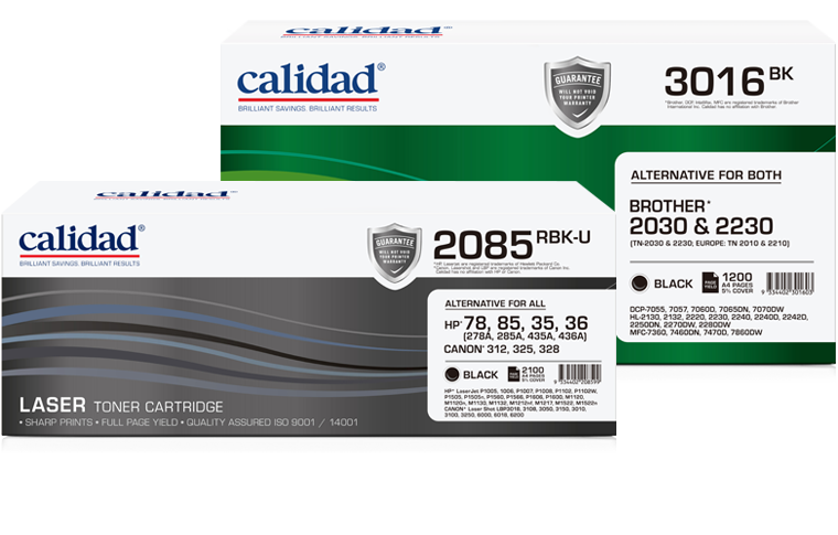 Calidad Laser Toner Cartridges offer savings of up to 50% compared to the cost of an original cartridge whilst delivering a printing solution you can rely on every time. Calidad has over 35 years experience in the manufacturing of alternative printing consumables.